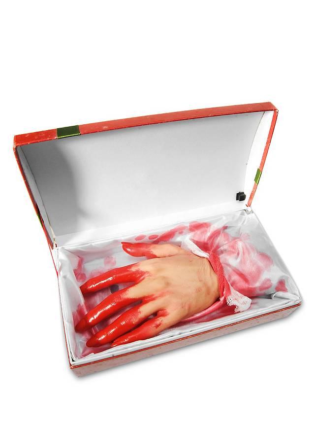 Blutige Hand in Geschenkbox Animierte Halloween Deko