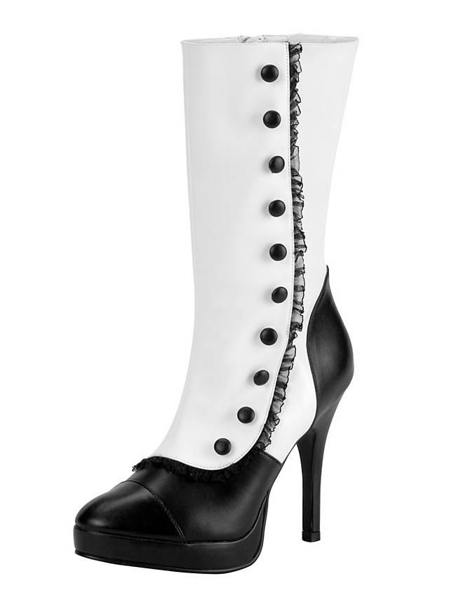Bottes de dame steampunk noir et blanc
