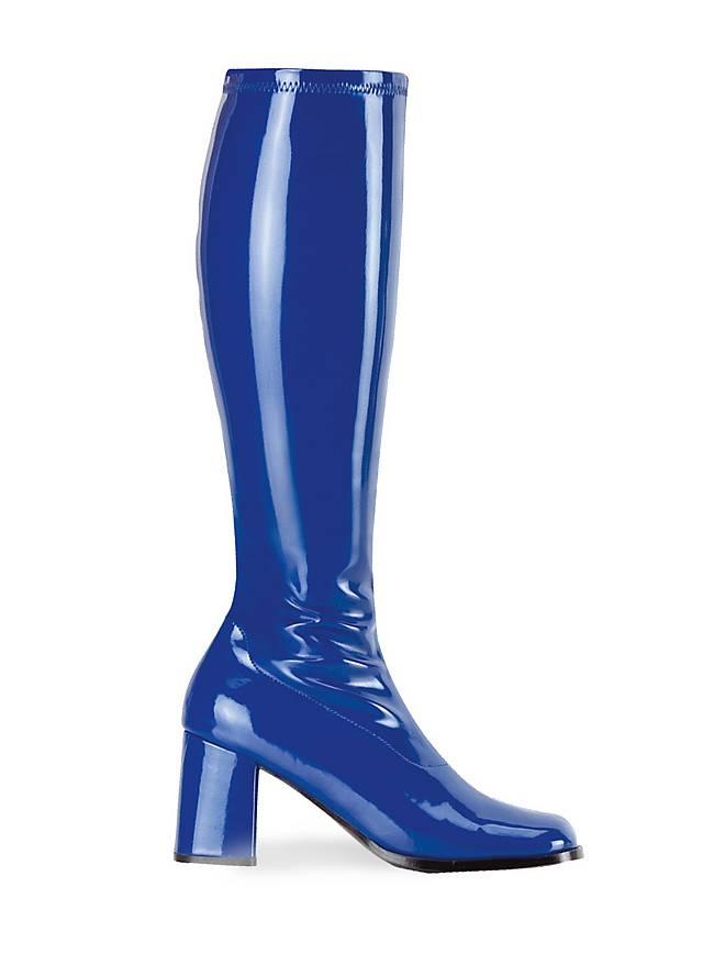 Bottes rétro en vinyle stretch bleu