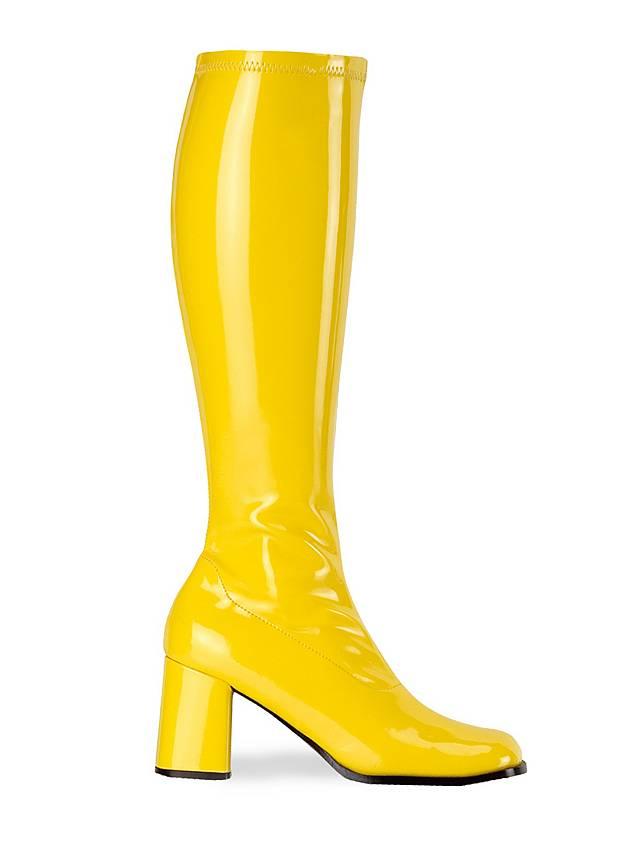 Bottes rétro en vinyle stretch jaune