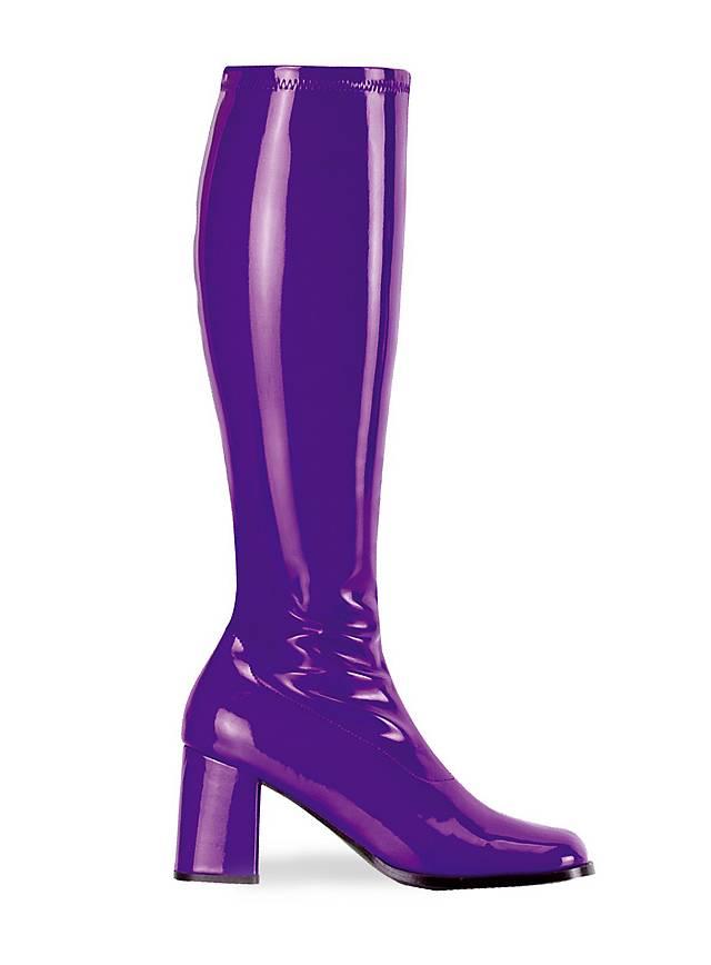 Bottes rétro en vinyle stretch violet