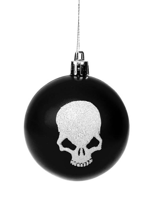 Boule de Noël tête de mort noire