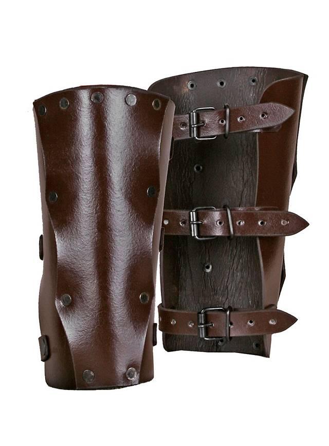 Bras d'armure de brigand en cuir marron