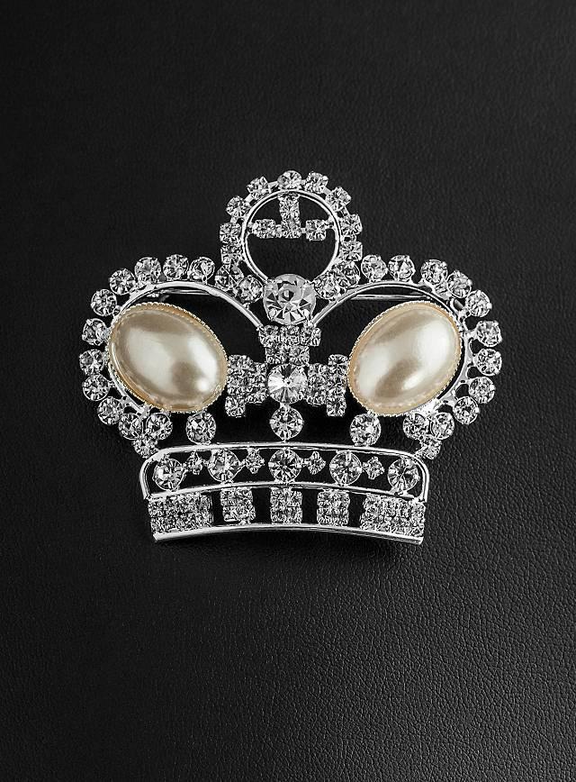 Broche argentée couronne en strass et perles