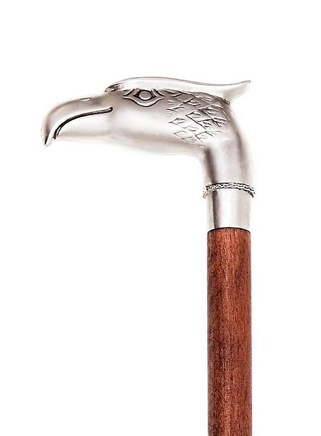 Canne à poignée aigle argentée
