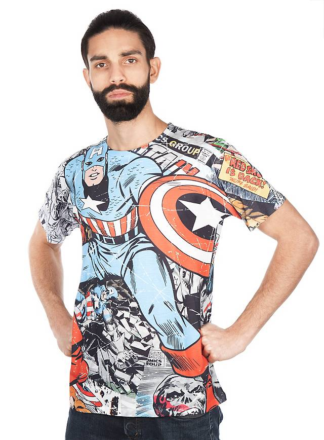 Captain America T-Shirt Comic Allover