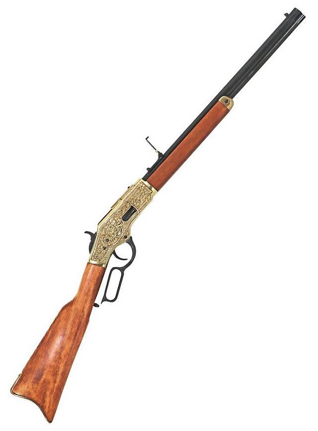 Carabine «Winchester» en laiton gravée Arme décorative