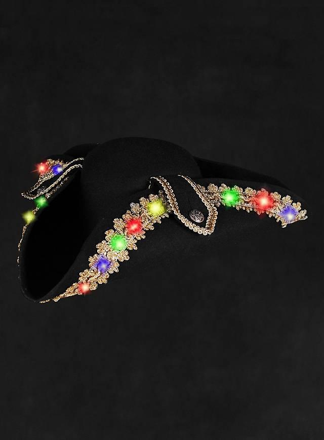 Chapeau à bord doré et LED multicolores clignotants