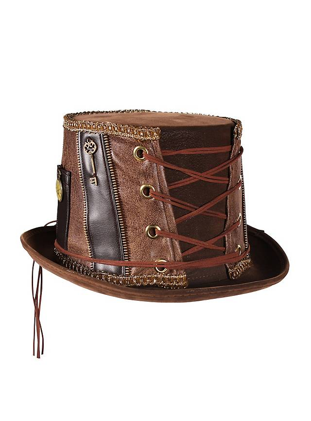 Chapeau pork pie hat steampunk marron
