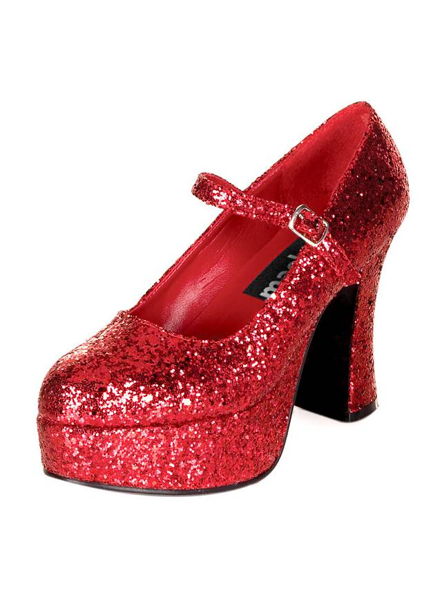 Chaussures à plateau paillettes rouges