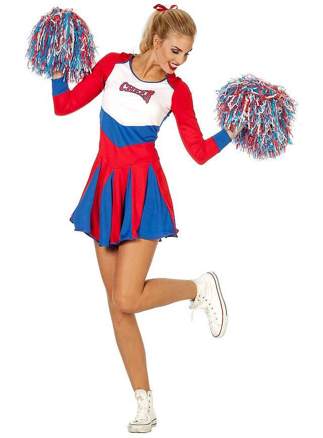 Cheerleaderin Kleid rot-blau