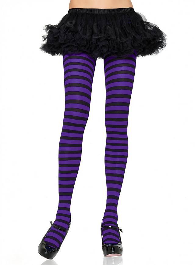 Collants noir et violet à rayures