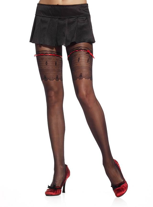 Collants nylon avec dentelles et ruban