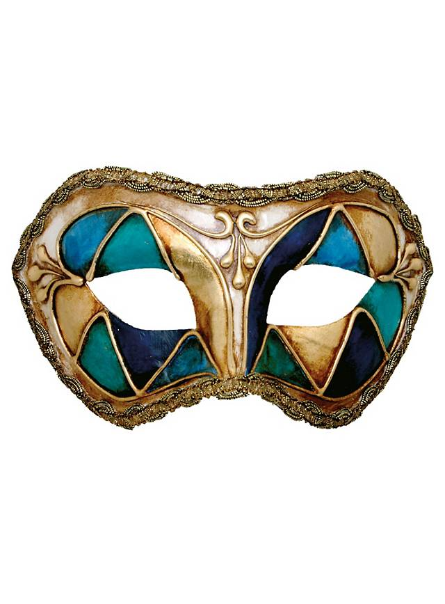Colombina arlecchino blu - Venezianische Maske