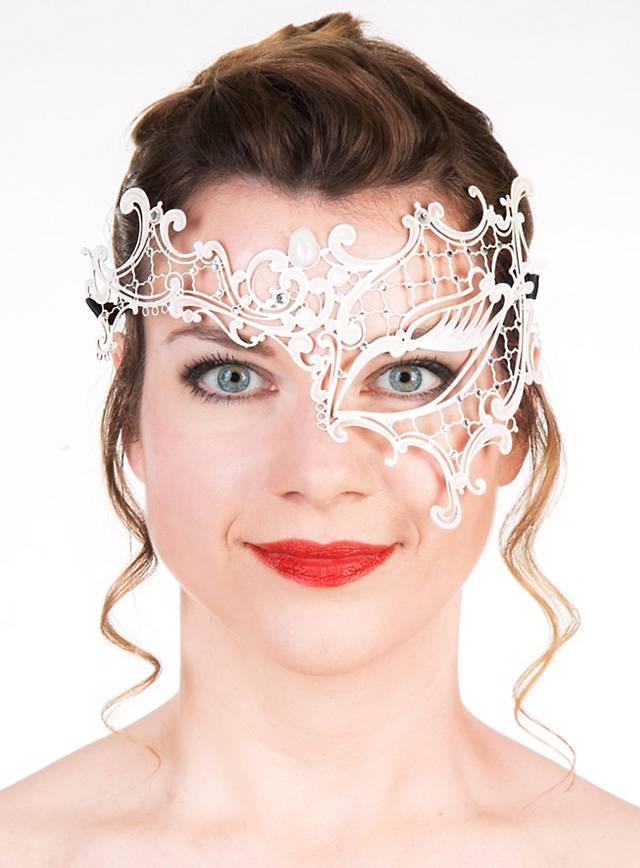 Colombina asimmetrica de metallo bianco Masque métallique vénitien