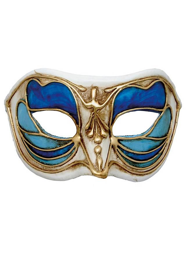 Colombina Monica blu bianco - masque vénitien