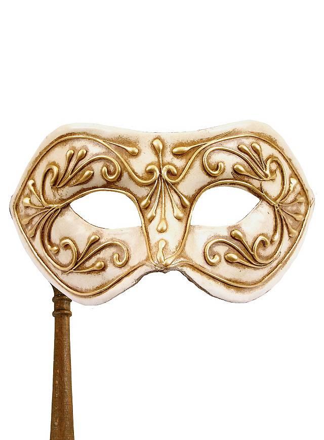 Colombina Monica oro bianco con bastone - Venetian Mask
