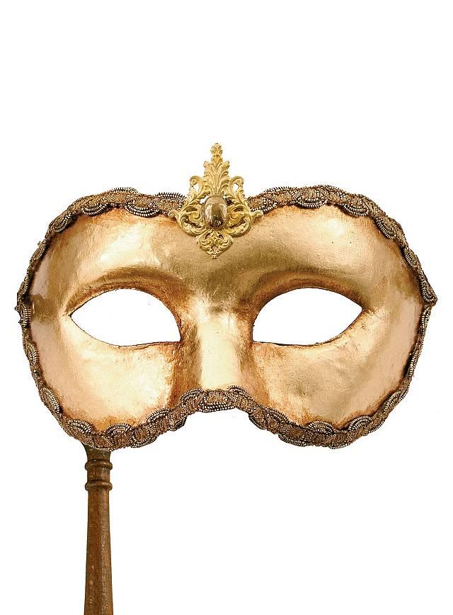 Colombina oro con bastone - Venezianische Maske
