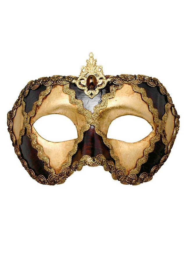 Colombina scacchi oro cuoio - Venezianische Maske