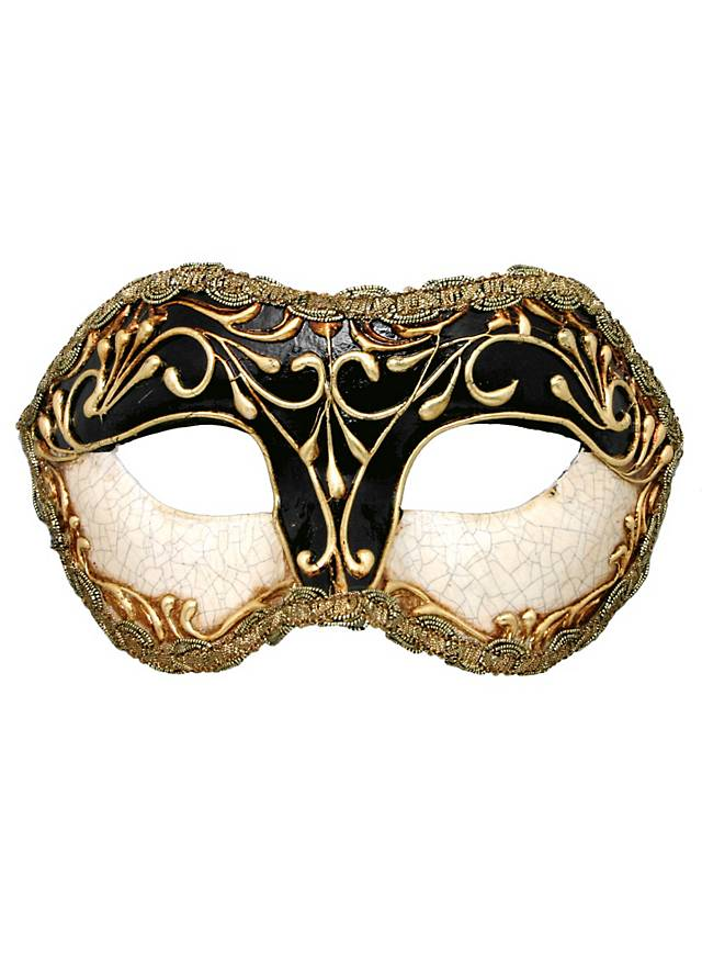 Colombina stucco craquele nero - Venezianische Maske