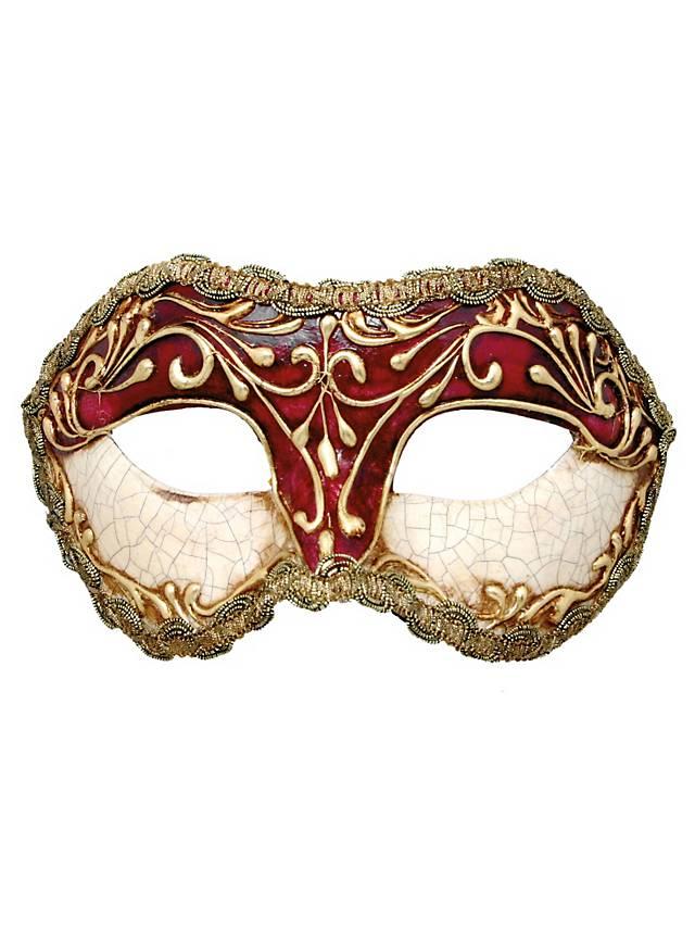 Colombina stucco craquele rossa - Venetian Mask