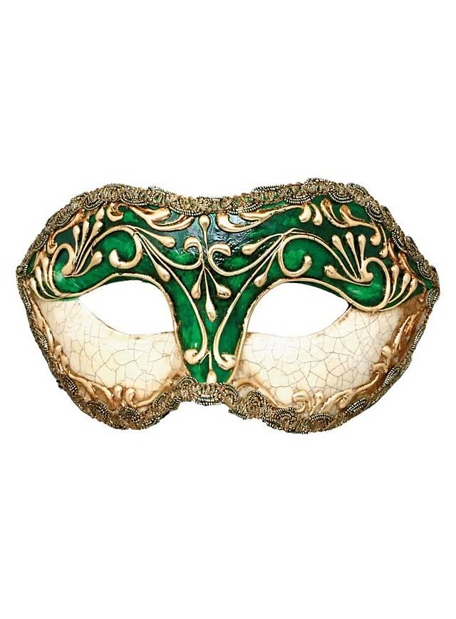 Colombina stucco craquele verde - Venetian Mask