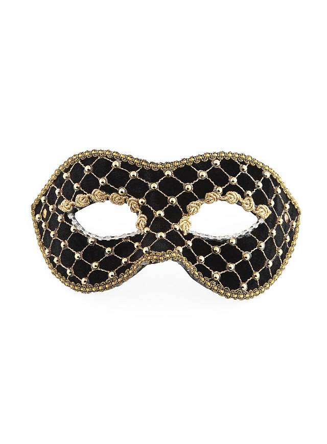 Colombina velluto nero oro Venetian Mask