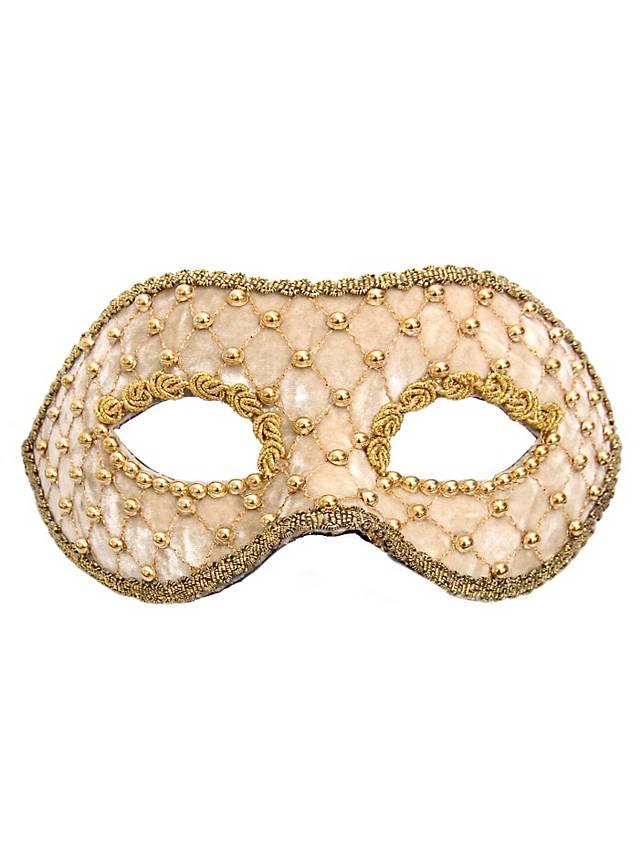 Colombina veluto bianco oro Masque vénitien