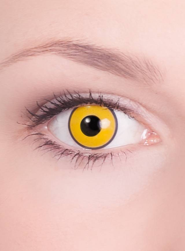 Gelbe Kontaktlinsen für die Pennywise Schminkanleitung