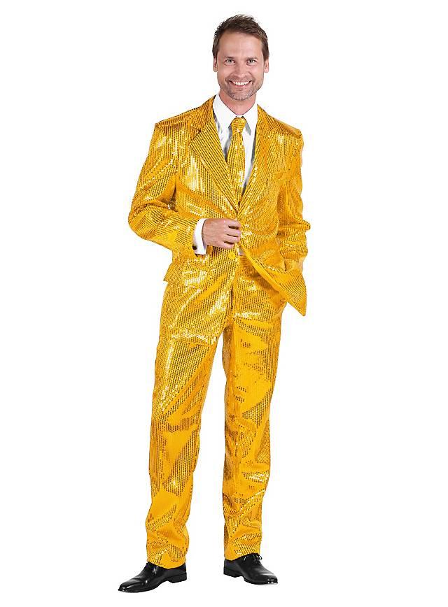 Déguisement costard de chanteur disco doré à paillettes