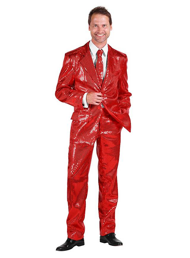 Déguisement costard de chanteur disco rouge à paillettes