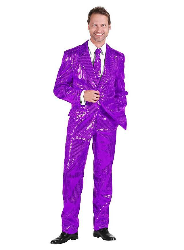 Déguisement costard de chanteur disco violet à paillettes