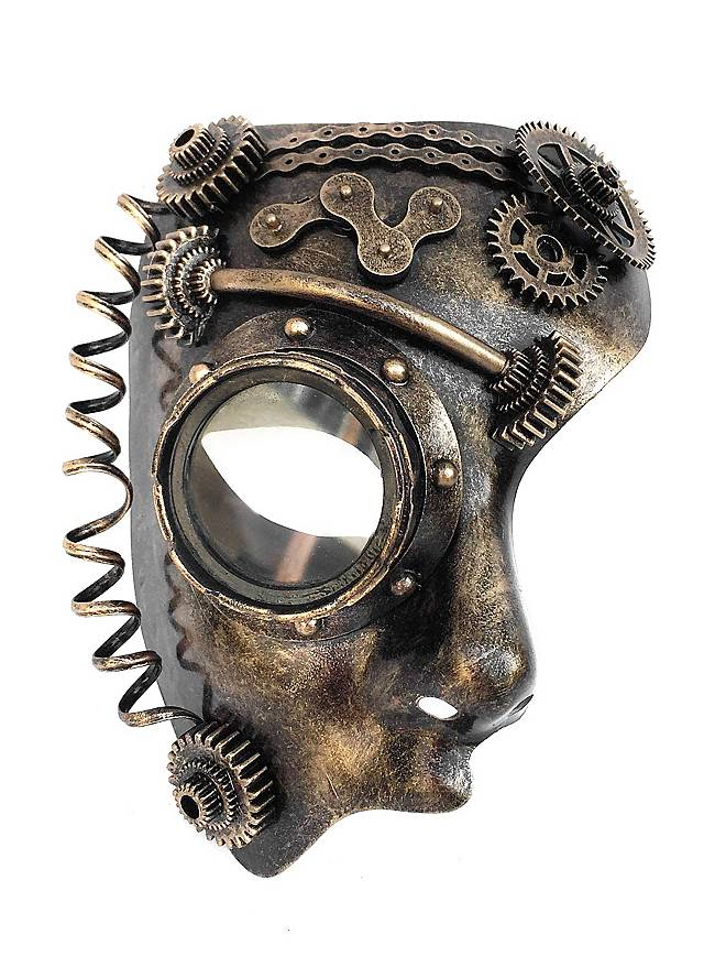 Demi-masque d'androïde steampunk - maskworld.com