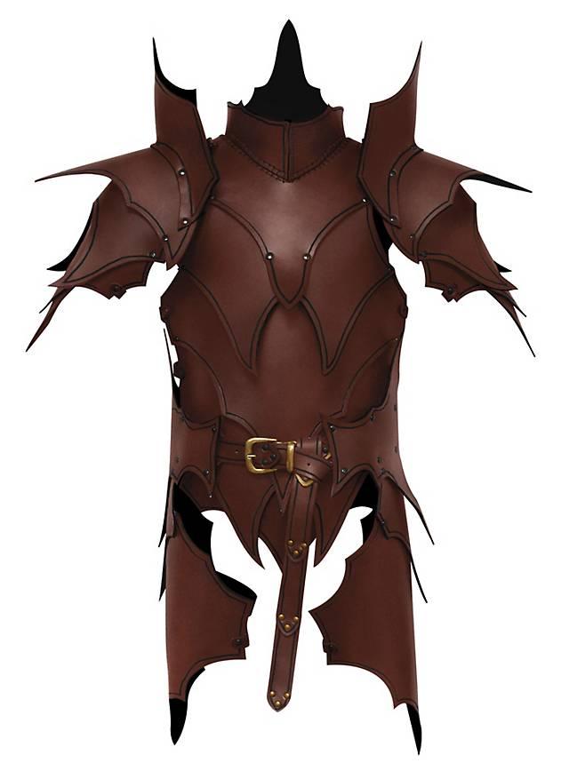 Dunkelelf Lederrüstung mit Beintaschen braun