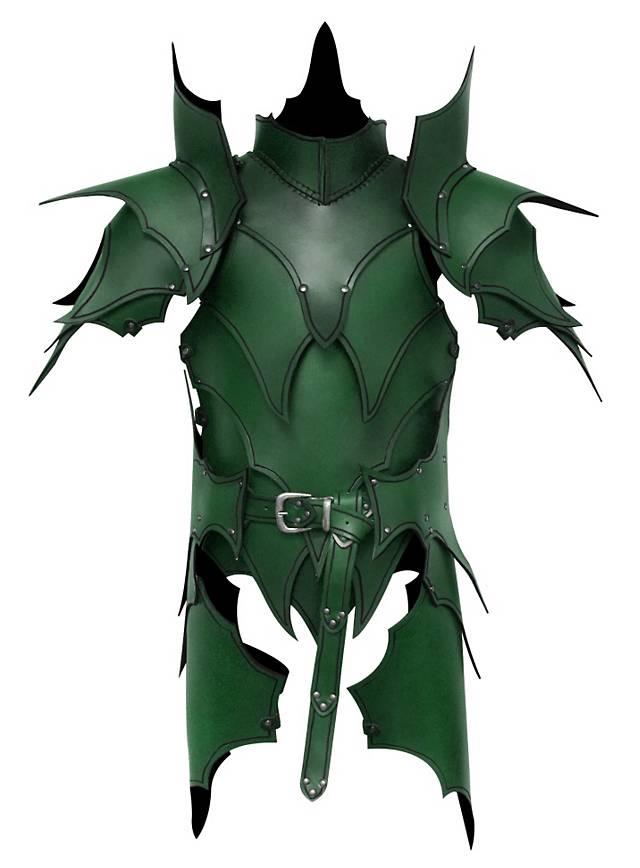Dunkelelf Lederrüstung mit Beintaschen grün