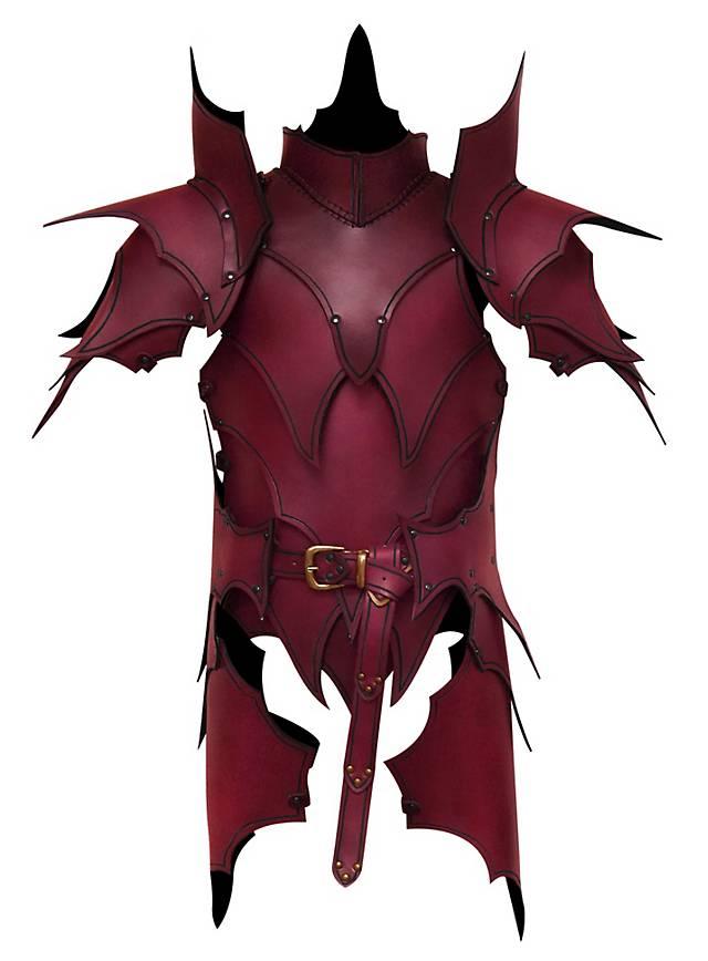 Dunkelelf Lederrüstung mit Beintaschen rot