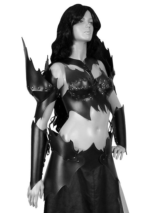 Dunkelelfen Kriegerin Lederrüstung schwarz