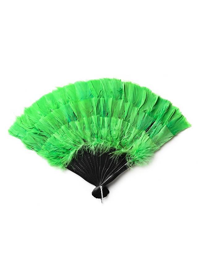 Éventail en plumes vert