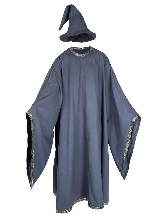 Fantasy-Robe mit Spitzhut grau