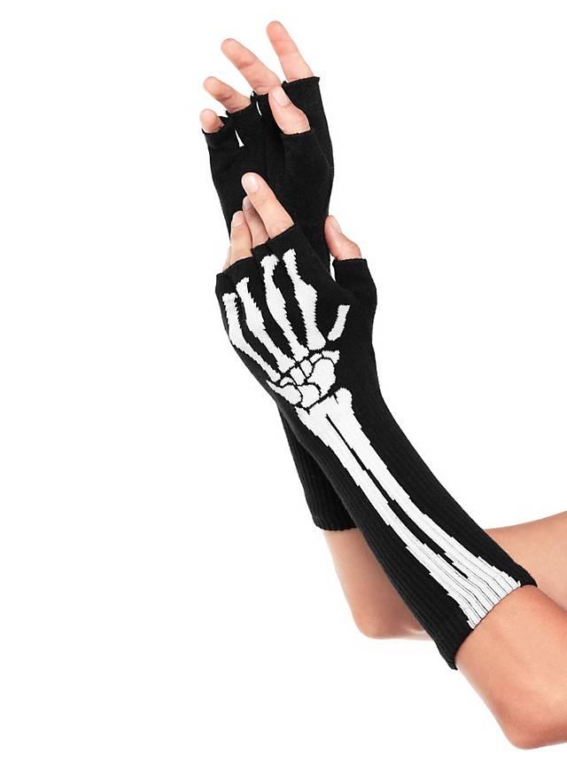 Fingerlose Skeletthandschuhe - maskworld.com