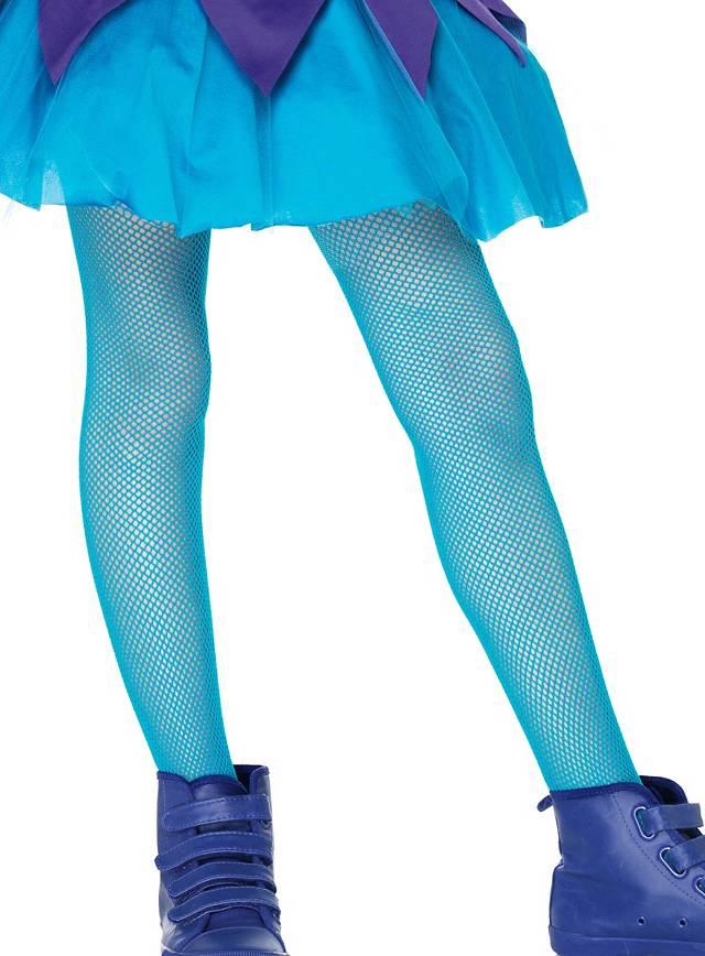 Fishnet Mädchen-Strumpfhosen neon-blau für Kinder