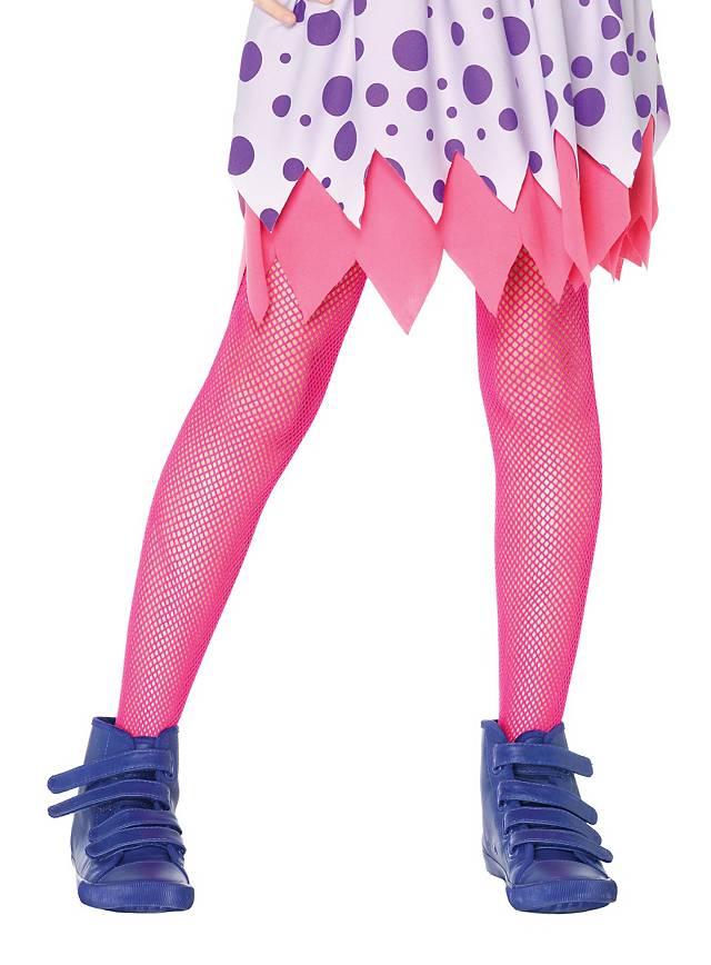 Fishnet Mädchen-Strumpfhosen neon-pink für Kinder