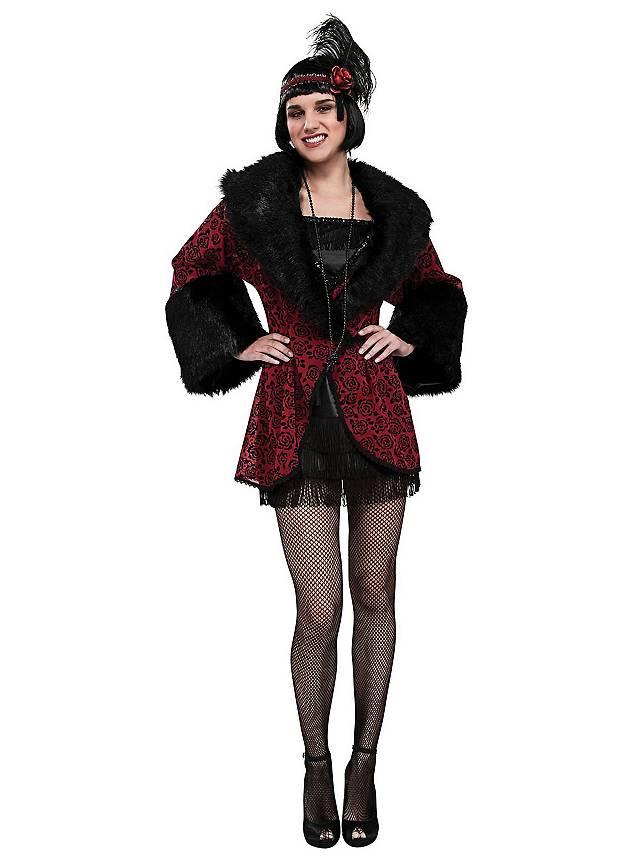 Flapper Mantel rot-schwarz