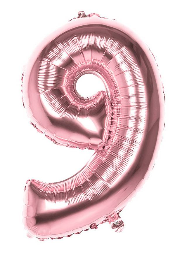 Folienballon Zahl 9 rosegold 86 cm