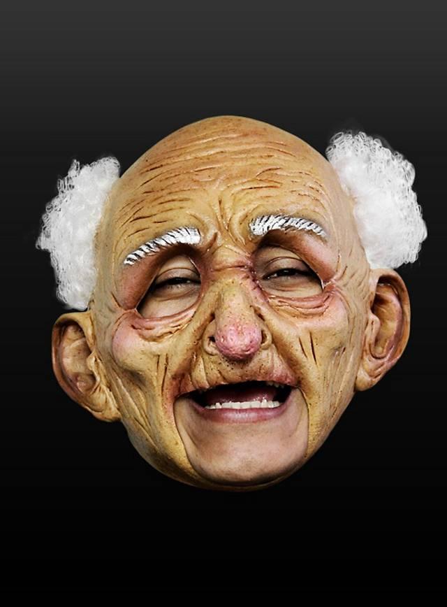 Fröhlicher Alter Kinnlose Maske aus Latex