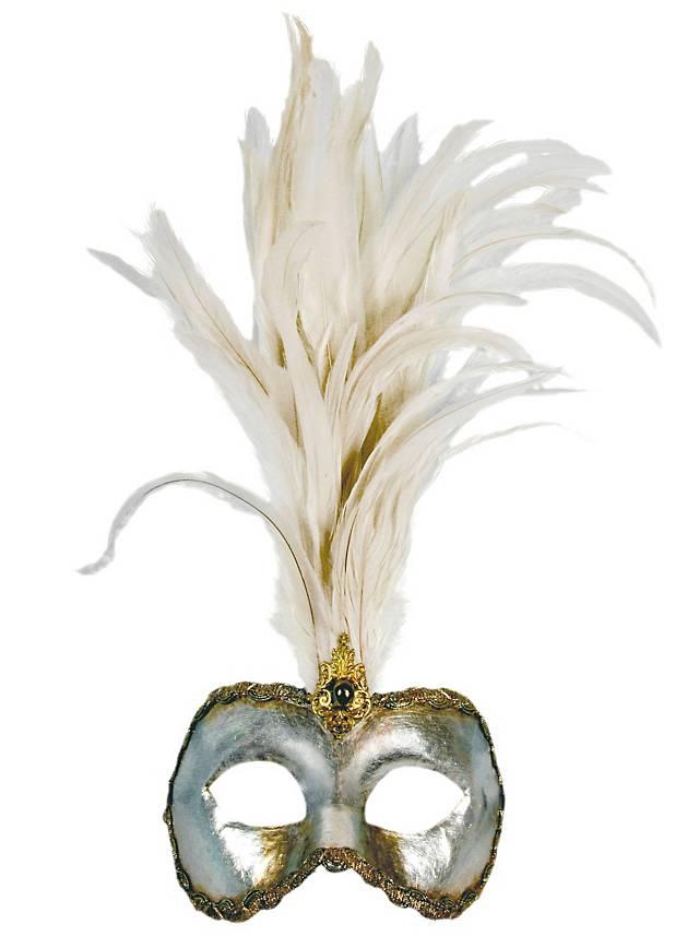 Galetto Colombina argento piume bianche - Venetian Mask