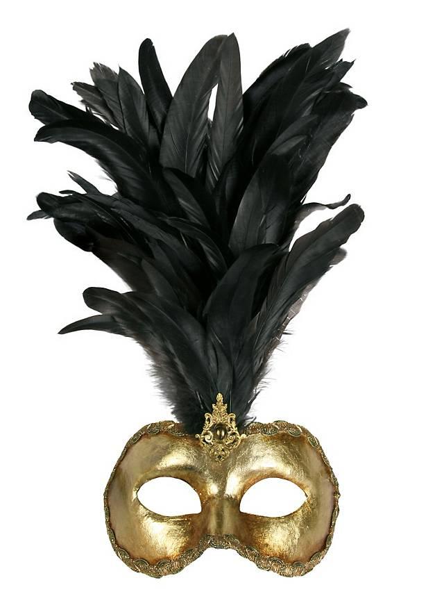 Galetto Colombina oro piume nere - Venetian Mask