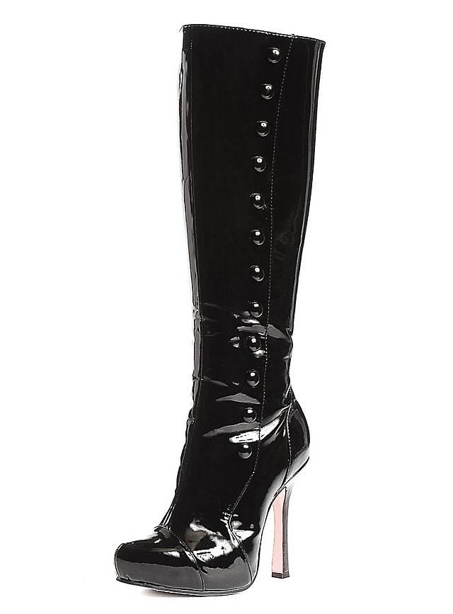 Gamaschen Stiefel Stretchlack schwarz