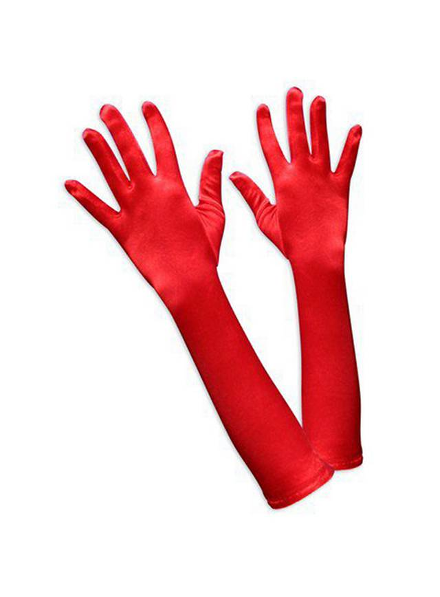 Gants longs rouges en satin