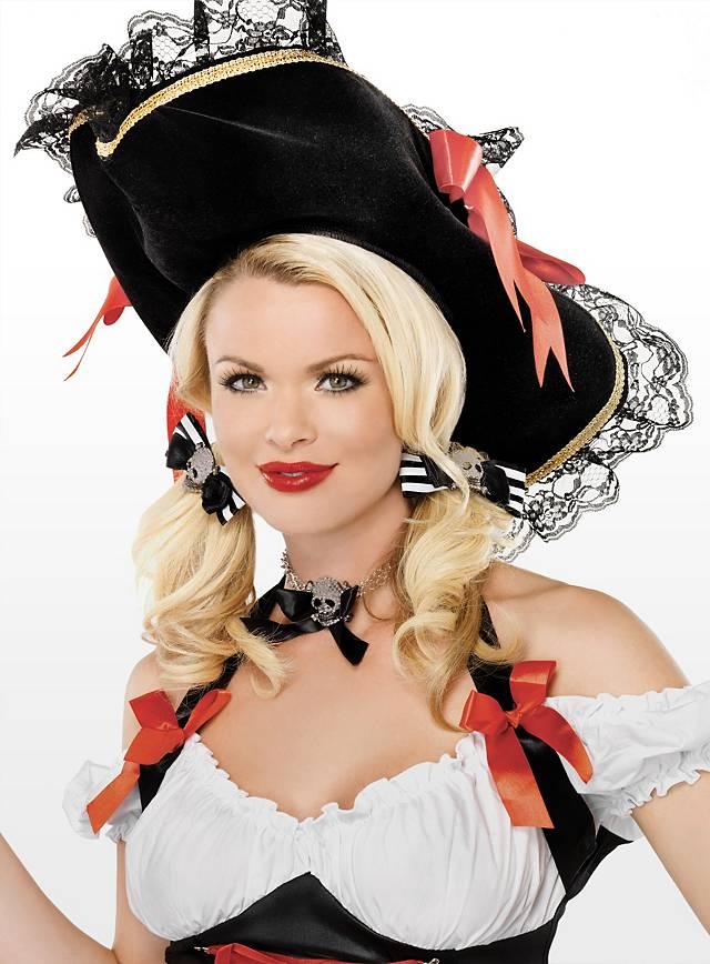 Gestreifte Piraten Haarschleife schwarz-weiß